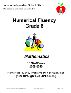 6th Grade 1st 6 Weeks Numercial Fluency