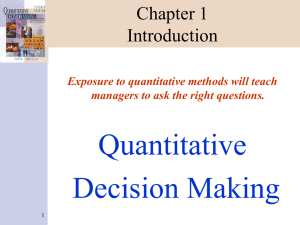Quantitative Decision Making Chapter 1 Introduction