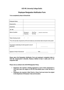 Employee Resignation Notification Form UCD HR, University College Dublin.