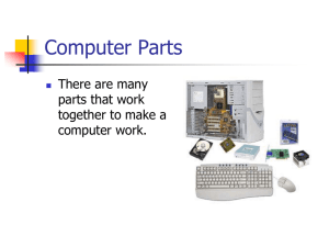 Computer Parts There are many parts that work together to make a