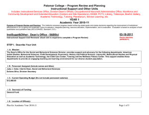 – Program Review and Planning Palomar College Instructional Support and Other Units