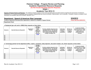 – Program Review and Planning Palomar College Academic Department Resource Requests YEAR 1