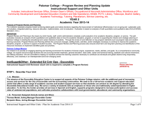 – Program Review and Planning Update Palomar College