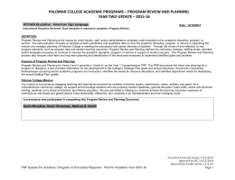 PALOMAR COLLEGE ACADEMIC PROGRAMS – PROGRAM REVIEW AND PLANNING – 2015-16