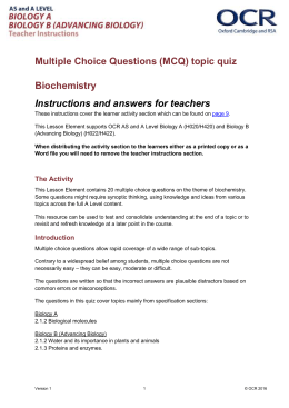 Biochemistry - MCQ topic quiz - Lesson element (DOC, 654KB) New 29/03/2016