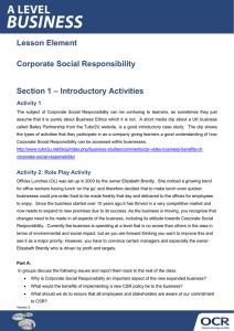 Corporate social responsibility - Topic exploration - Learner activity (DOCX, 156KB) Updated 29/02/2016