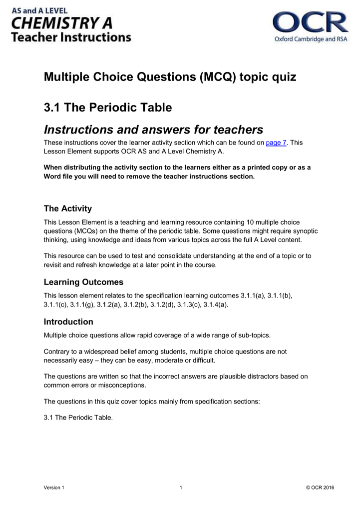 The periodic table mcq topic quiz lesson element doc 279kb the periodic table mcq topic quiz lesson element doc 279kb updated 29032016 urtaz Images