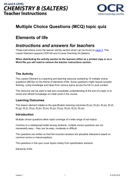 Elements of life - MCQ topic quiz - Lesson element (DOC, 470KB) Updated 29/03/2016