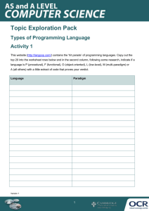 Types of programming language - Topic exploration pack - Learner activity (DOCX, 393KB)