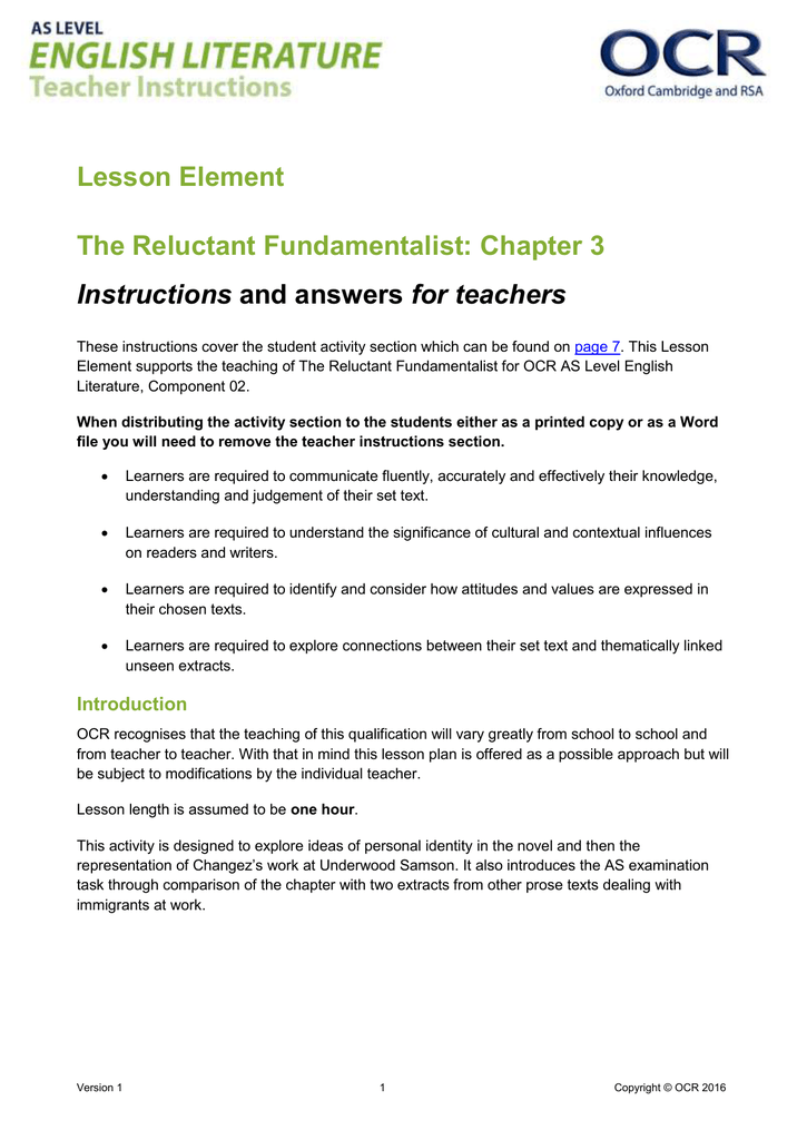 The Reluctant Fundamentalist - Teacher's instructions and