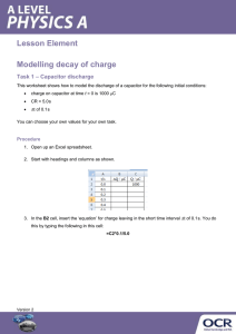Modelling decay of charge - Activity - Lesson element (DOCX, 655KB)