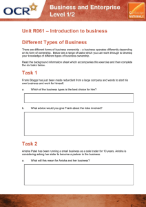 Unit R061 - Different types of business - Activity (DOC, 2MB)
