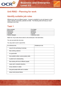 – Planning for work Unit R062 Identify suitable job roles