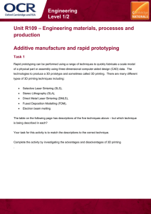Unit R109 - Additive manufacture and rapid prototyping - Lesson element - Learner task (DOC, 693KB)