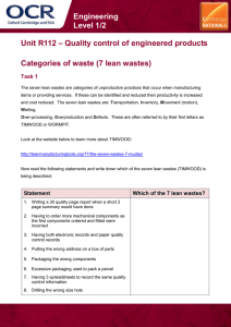 Unit R112 - Categories of waste (7 lean wastes) - Lesson element - Learner task (DOC, 346KB)