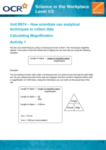 Unit R074 - Calculating magnification - Lesson element - Learner task (DOC, 361KB) New