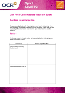 Unit R051 - Barriers to participation - Lesson element - Learner task (DOC, 1MB) New