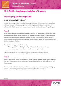 Unit R052 - Developing officiating skills - Lesson element - Learner task (DOC, 2MB)