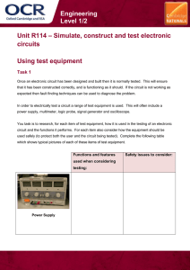 Unit R114 - Using test equipment - Lesson element - Learner task (DOC, 2MB)