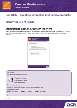 Unit R087 - Identifying client needs - Lesson element - Teacher instructions (DOC, 333KB) New 29/03/2016