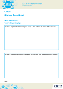Colour Student Task Sheet What is white light? Task 1: Dispersing light