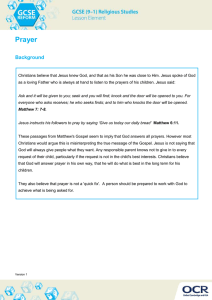 Prayer - Learner activity - Lesson element (DOC, 467KB)