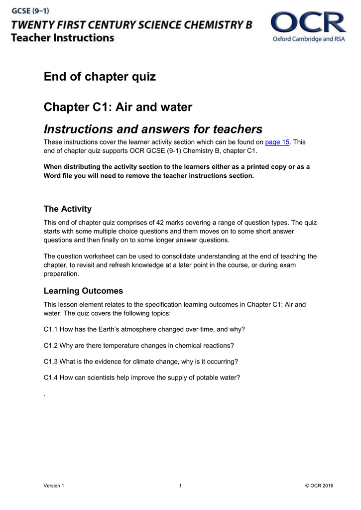C1 Air and water - End of chapter quiz - Lesson element (DOC ...