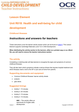 Unit R018 - Lesson element - Childhood illnesses (DOC, 683KB)