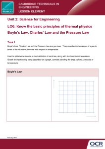 Unit 02 - Know the basic principles of thermal physics Boyle's Law, Charles' Law and the Pressure Law - Learner task (DOC, 177KB)