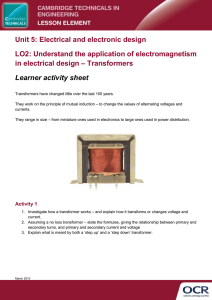 Unit 05 - Understand the application of electromagnetism in electrical design - Transformers - Learner task (DOC, 2MB)