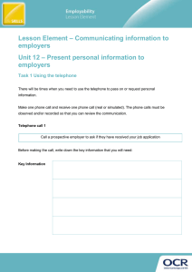 – Communicating information to Lesson Element employers – Present personal information to