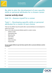 Unit 14 - Lesson element - Be able to plan the development of specific skills or personal attributes for a chosen career - Learner task (DOC, 1MB)