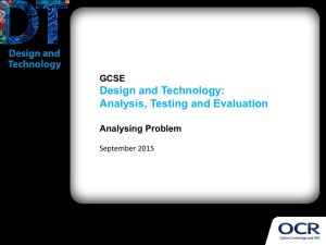 Design and Technology: Analysis, Testing and Evaluation GCSE Analysing Problem