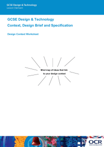 Design context, brief and specification activity (DOC, 1MB)