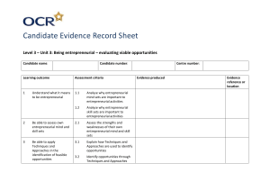 Unit 03 - Being entrepreneurial – evaluating viable opportunities - Candidate evidence record sheet (DOC, 45KB)