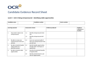 Unit 02 - Being entrepreneurial - Identifying viable opportunities - Candidate evidence record sheet (DOC, 43KB)