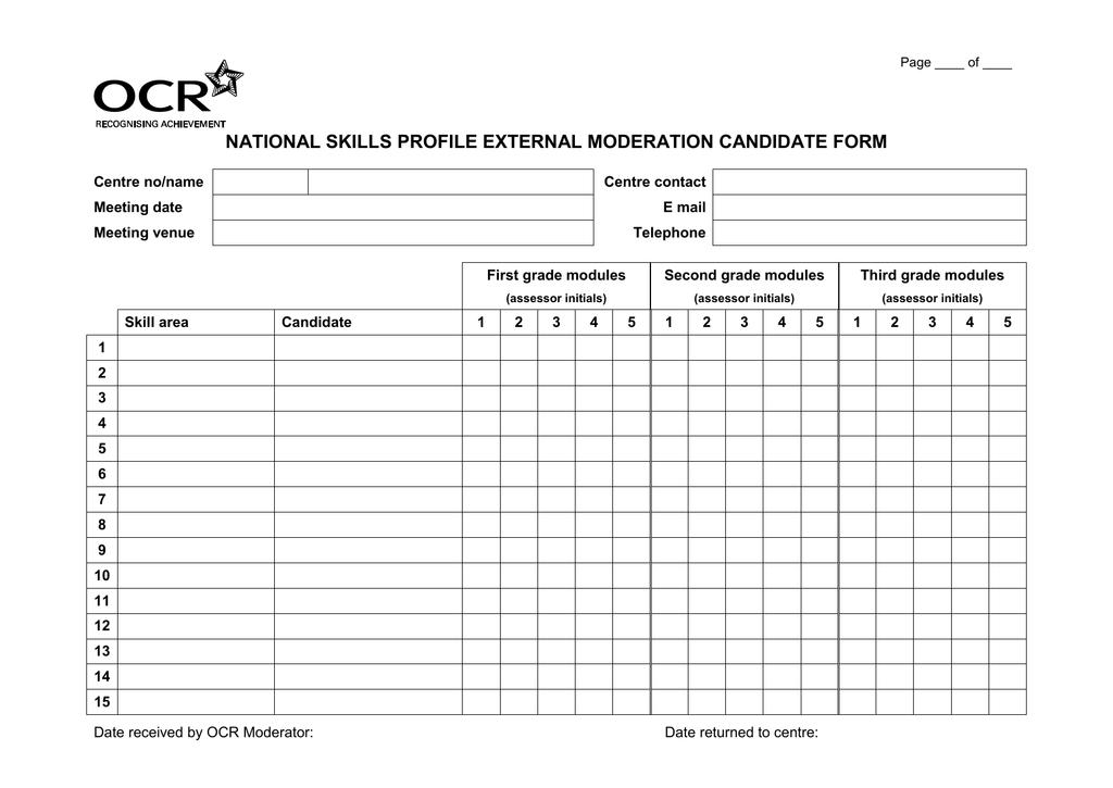 External Moderation Candidate Form Template Doc 204kb