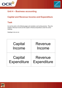 – Business accounting Unit 4  Capital and Revenue Income and Expenditure
