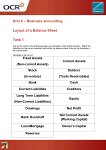 Unit 04 - Layout of a Balance Sheet - Lesson element learner task (DOC, 199KB) New