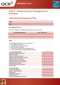 Unit 05 - Individual development plan - Lesson element - Learner task (DOC, 298KB) New