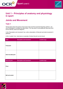 Sport – Principles of anatomy and physiology Unit 1 in sport