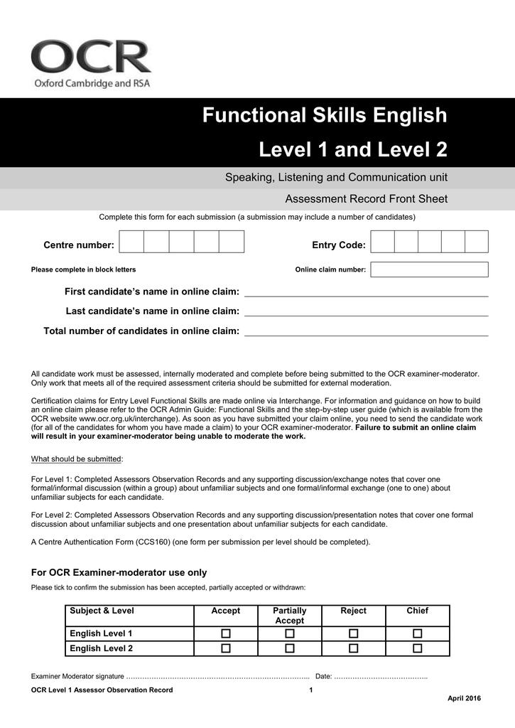 Functional Skills English Level 1 And Level 2