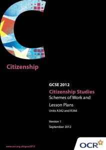 Units A342 and A344 - Citizenship, identity and community in the United Kingdom - Sample scheme of work and lesson plan booklet (DOC, 1MB)