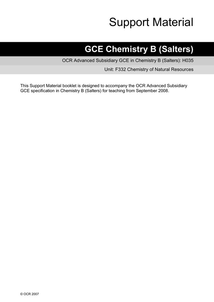 ocr salters b chemistry coursework mark scheme