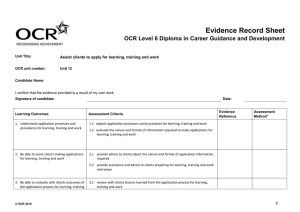 Level 4 - Unit 12 - Evidence record sheet (DOC, 119KB)