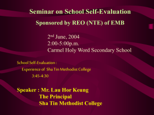 Seminar on School Self-Evaluation Sponsored by REO (NTE) of EMB 2 June, 2004