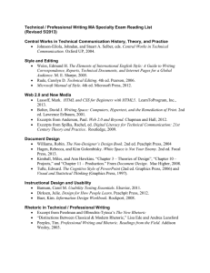 Professional-Technical Writing Specialty Reading List
