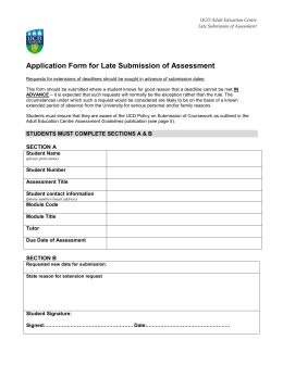 Application Form for Late Submission of Assessment