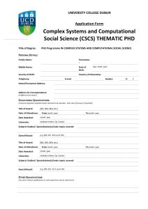 Complex Systems and Computational Social Science (CSCS) THEMATIC PHD  Application Form