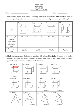 Worksheet 0 - Angles and Planes in 3D Figures